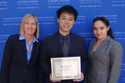 (L to R) Chair of Higgs Fletcher & Mack's Diversity Committee Susan Hack, Student Thomas Wang, and  Higgs Fletcher & Mack Diversity Committee Member Rahil Swigart '03